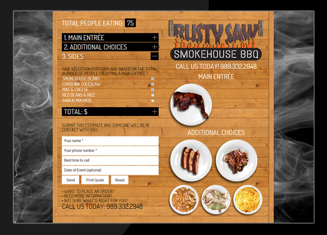 Rusty Saw Smokehouse Catering Calculator